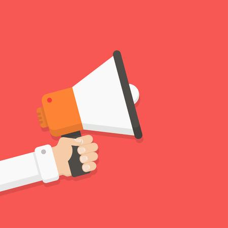 warning: Lautsprecher in der Hand eines Mannes. Alarm, Ankündigung, Warnung, Werbekonzept. Reden, Lautsprecher schreit. Lautsprecher und Hand in flachen Stil. Lautsprecher mit der Hand Vektor-Illustration.