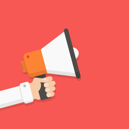 Loudspeaker in a man's hand. Alert, announcement, warning, advertising concept. Talking, shouting in loudspeaker. Loudspeaker and hand in flat style. Loudspeaker with hand vector illustration. Иллюстрация