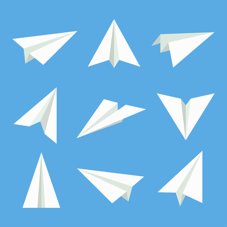 handmade paper: Paper plane vector set. Paper plane in flat style. Paper plane icon. Paper plane isolated from background. Origami plane collection. Handmade paper plane. Illustration