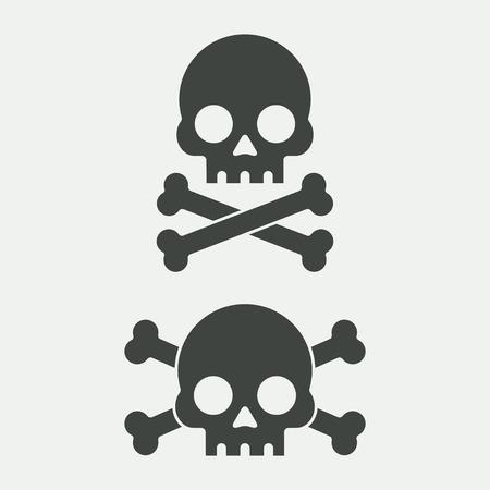 Skull vector illustration. Skull and crossbones. Skull icon. Sign of death, danger. Jolly Roger for pirate flag. Skull cartoon. Skull black. Skull in flat style. Skull human head. Vettoriali