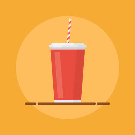 soda: Soda vector illustration. Soda icon. Soda cup in flat style. Soda pop. Soda drink image. Soda glass on colored background. Soda isolated. Soda flat design.