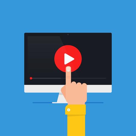 Online video concept. Internet video illustration. Distance training videos. Online learning design. Video conference and webinar image. Study using video online. Streaming video. Online video icon.