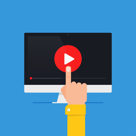 Online video concept. Internet video illustration. Distance training videos. Online learning design. Video conference and webinar image. Study using video online. Streaming video. Online video icon.