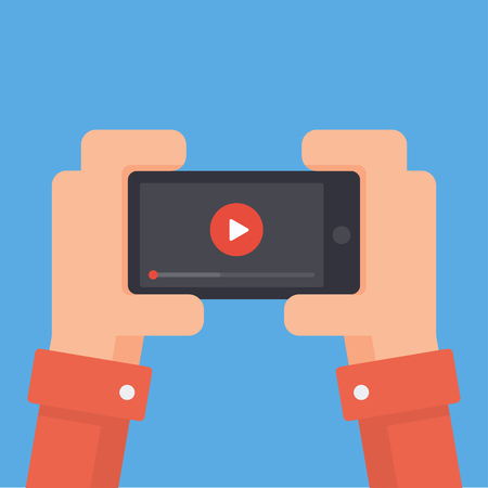 playback: Watch videos on your phone. Mobile phone with video player on the screen. Play online video on your phone. Video streaming on phone. Video app in your phone. Mobile video streaming technologies.