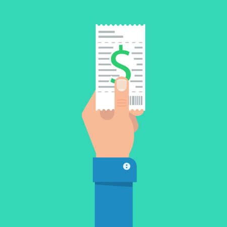 utility payments: Bill to pay illustration. Bill payment design in flat style. Hand holding bill. Paying bills concept. Payment of utility, bank, restaurant and other bills. Giving or receiving bill. Illustration
