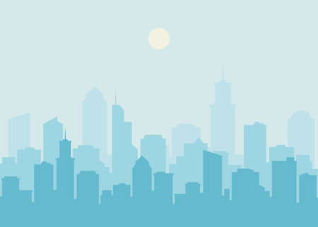 City skyline illustration. Urban landscape. Blue city silhouette. Cityscape in flat style. Modern city landscape. Cityscape backgrounds. Daytime city skyline.