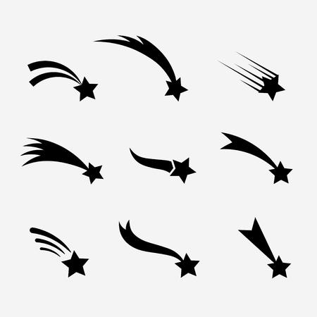 tiro al blanco: estrellas fugaces conjunto. estrellas fugaces aislados de fondo. Iconos de meteoritos y cometas. La caída de estrellas con diferentes colas. Las estrellas fugaces siluetas negras.