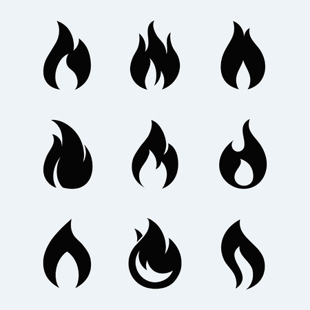 Fire icon set. Fire flames isolated from background. Fire black silhouettes. Fire flames icon collection. Different fire icons in flat style. Flaming fire simple shape.