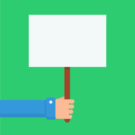 notice: Hand holding blank placard. Placard with place for text. Hand with clean, white placard. Empty placard for advertising or warning. Men hand shows placard. Illustration