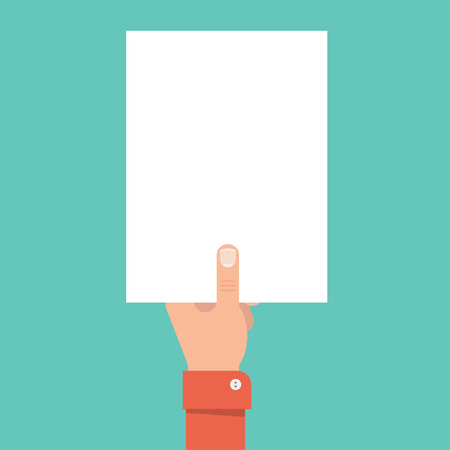 Une main tenant une feuille de papier vierge. feuille blanche modèle de papier. Mockup feuille blanche A4. Main avec la feuille sans texte. Concept de l'annonce, avertissement. Feuille de papier blanc avec la main. Vecteurs