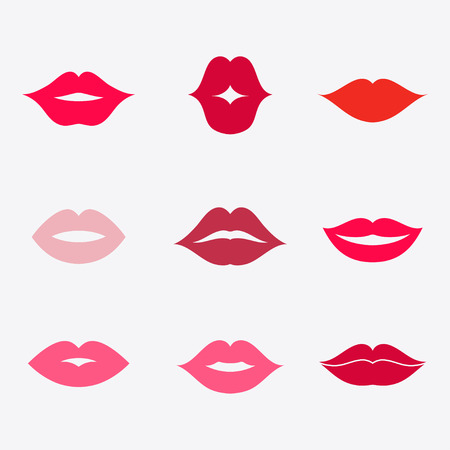 Lips icon set. Different women's lips isolated from background. Red lips close up girls. Shape sending a kiss, kissing lips. Collection of women's mouths. Lips symbol.  イラスト・ベクター素材