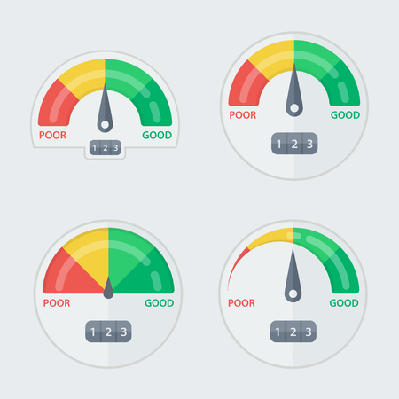Credit score gauge. Manometer illustration. Display pressure, measurement level.  Score indicator isolated set. Measuring scale in flat style. Efficiency, success score.