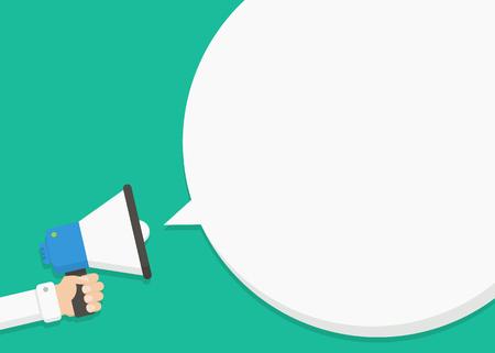 Hand met een megafoon met een tekstballon. Concept van de advertentie, reclame, nieuws, aan te kondigen. Spreken, schreeuwen, om te bellen, het aankondigen door een megafoon. Het aankondigen van het alarm, om te waarschuwen. Stock Illustratie