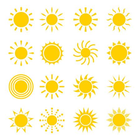 słońce: Sun zestaw ikon wektorowych. Ikony koncepcji słońce w płaskiej stylu. Różne ikony słońca logo. Kolekcja ikon słonecznych na białym tle. Sun konstrukcja ikony. Ilustracja