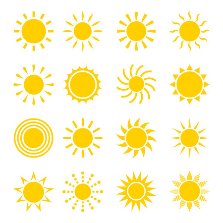 Sun icon vector set. Concept icons of the sun in a flat style. Different icons for sun logo. Collection of sun icons isolated on white background. Sun icon design. Vettoriali