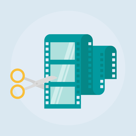 Videobearbeitung flach Vektor-Symbol. Filmschnitt Design-Ikone aus dem Hintergrund, Video bearbeiten Konzept Symbole in flachen Stil isoliert. Video Produktion einfache flache Symbol. Scheren und Filmstreifen Illustration.