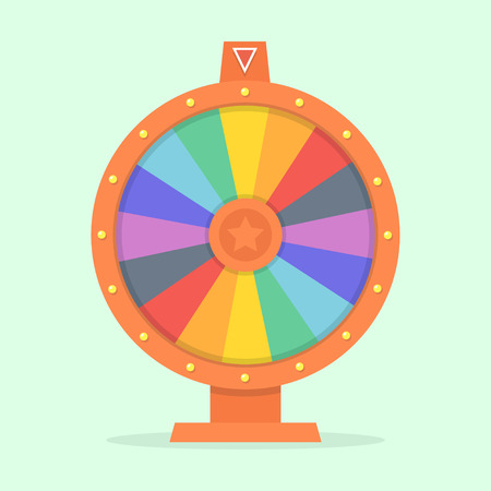 wheel of fortune: Wheel of fortune vector illustration of a flat. Colorful game wheel. Empty wheel of fortune isolated from the background. Wheel of chance concept. Wheel of fortune flat design template.