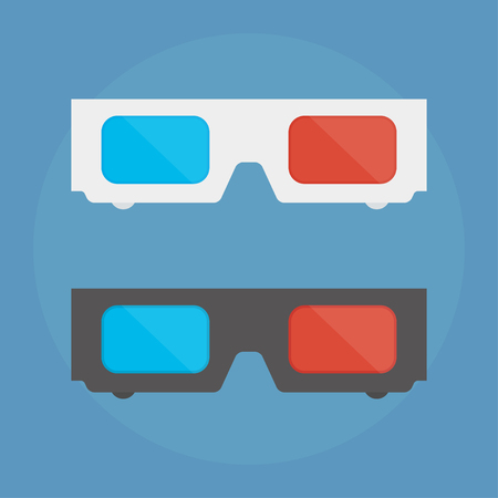 stereoscope: 3D glasses vector illustration of flat. A pair of 3D glasses isolated on a colored background. Design black and white 3D glasses for movies. 3D glasses icon concept. Illustration