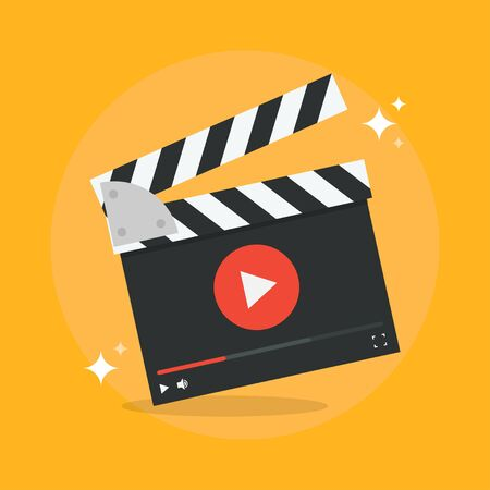 film production: Film production concept vector illustration. Movie production icon in flat style isolated from the background. Video production design flat illustration. Film production icon.