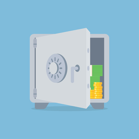 Deposit vector illustration in flat style. Saving money concept. Bank deposit icon isolated from the background. Open deposit box with money. Finance security. Deposit account image.