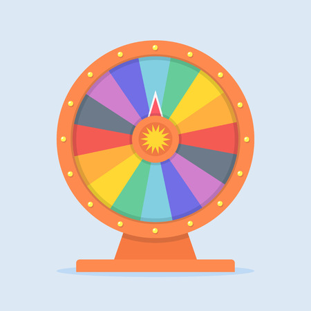 wheel of fortune: Wheel of Fortune vector illustration in flat style. Empty wheel of fortune. Concept wheel of fortune isolated on colored background. Colorful wheel of fortune icon. Children playing Wheel of Fortune. Illustration