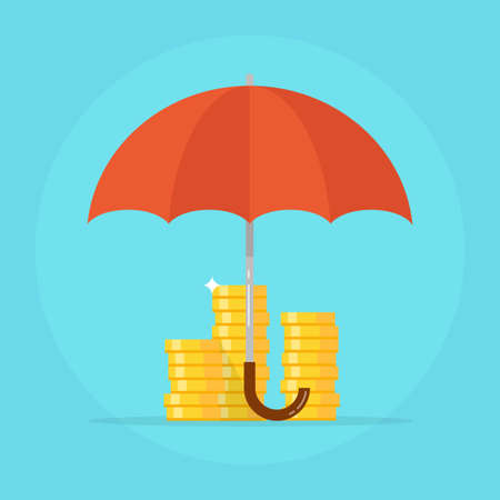 capital: Insurance deposit concept vector icons. Insurance finance design in flat style icons.  Insurance business symbol isolated from the background. Insurance investments vector illustration.