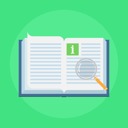 inform: Manual book vector icon in flat style. Concept user manual isolated on colored background. Illustration of instruction manual in the form of open book. Design manual sign. Illustration