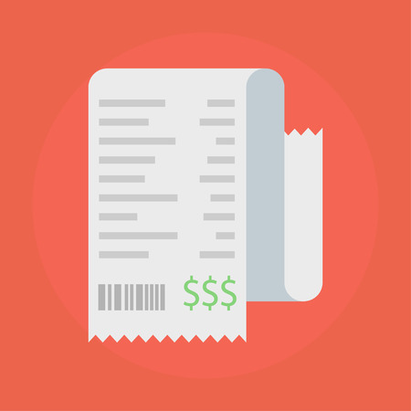 receipts: Receipt vector icon in a flat style. Receipts Icon isolated on a colored background. Concept paper receipts icons. Design receipt icon with a total cost. Illustration