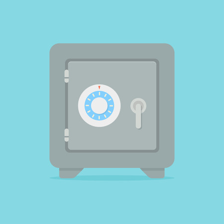 Safe vector icon in a flat style. Metal bank safe. Closed safe isolated on a colored background. Concept of the icon safe shadow at the bottom. Simple illustration of the safe.