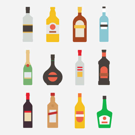 alcoholic drinks: Alcoholic bottle icon set. Bottle with alcohol isolated on white background.  Alcoholic drinks in a modern flat style. A collection of popular alcoholic beverages. Alcoholic bottle design. Illustration
