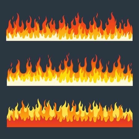 Fire flames mis dans un style plat. Cartoon brûlant feu flamme. flammes de feu isolés sur un fond sombre. Différentes flammes de feu horizontales. Collection de longues bandes d'un feu de flammes.
