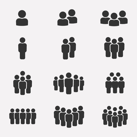 Team icon set. Group of people icons isolated on a white background. Business team icons collection. Crowd of people black silhouettes simple. Team icons in flat style. Çizim