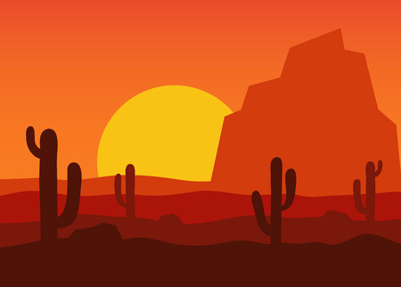 hot stones: Western desert landscape at sunset illustration. The background desert area with silhouettes of cacti, mountains and sand stones.