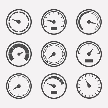 speed test: Circular meter set. Collection of round gauges. Simple icons meters isolated from the background. Black symbols speed meter, tachometer and manometer. Rating meter illustration.