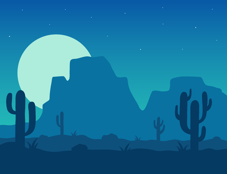 Desert landscape under the night sky illustration. Night desert area with silhouettes of stones, cacti, plants and mountains. Background Mexico or Arizona desert under the moon.