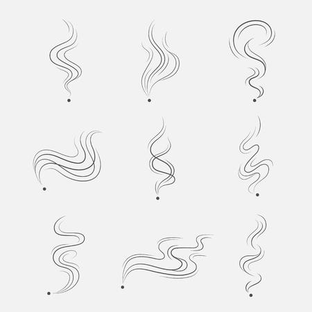 Fumo, vapore o vapore impostati come linee scure. Icone astratte olfatto isolato su sfondo bianco. Semplice, lineare, si estende fino fragranza nuvole. Vettoriali