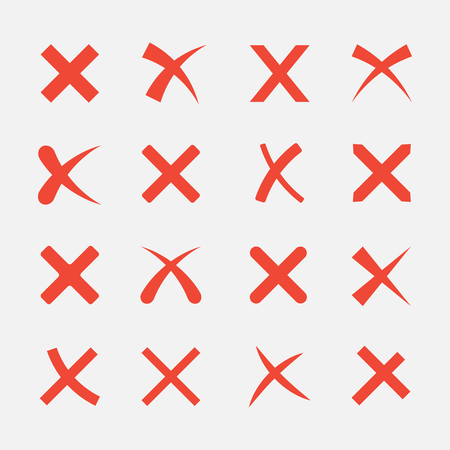 wrong: Cross set isolated on white background. The red X icons in flat style. Icon to delete or close web sites and applications. Wrong mark collection.