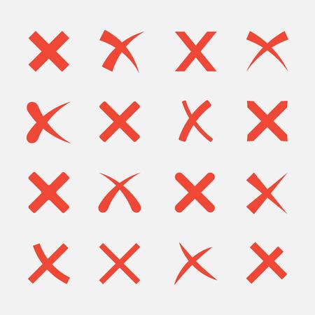Cruz conjunto aislado sobre fondo blanco. Los iconos X roja de estilo plano. Icono para eliminar o cerrar sitios web y aplicaciones. colección de la marca equivocada.