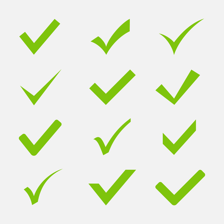 check icon: Check mark icon set isolated on white background. Green tick symbols in a flat style.