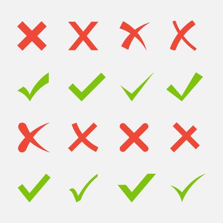 Czerwony krzyż i zielony zestaw kleszczy. Tak i Brak ikon dla witryn internetowych i aplikacji. Prawo i niewłaściwe znaki samodzielnie na białym tle.
