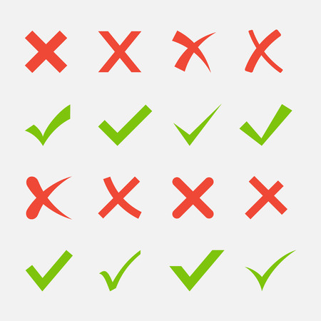 Red cross and green tick set. Yes and No icons for websites and applications. Right and Wrong signs isolated on white background.
