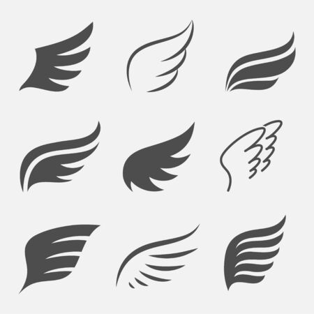 wing: Wings set of icons isolated from the background. Illustration