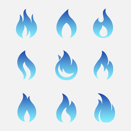 methane: Gas flames icons isolated from the background