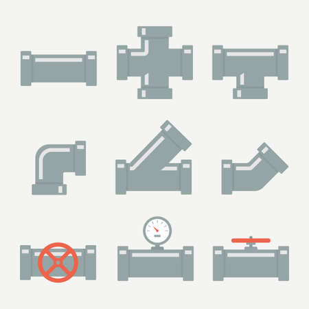 plastic conduit: Pipe fittings set icons isolated from the background. The elements of the pipeline or drainage system in flat style. Pipe system designer.