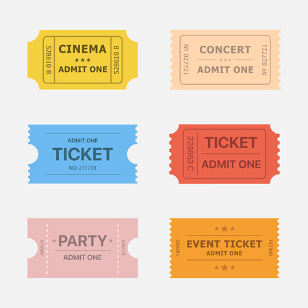 ticket stubs: Ticket icons isolated from the background in flat style. Ticket stubs to events such as movie, concert and party. Simple vintage paper tickets for any activity.
