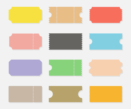 Blank shapes of tickets set isolated from background. Ticket templates for events such as movie, concert, sports or party. Vintage ticket stubs in flat style.