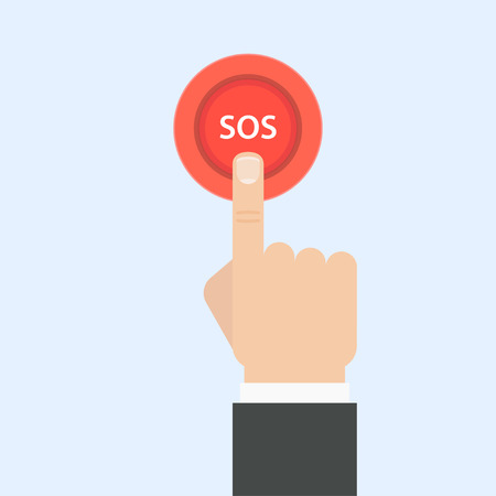 sos: SOS button with hand illustration in flat style