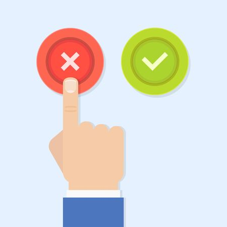 reaches: Yes or no illustration in flat style. Mens hand reaches for the right and wrong buttons. Colored buttons with a cross and tick.