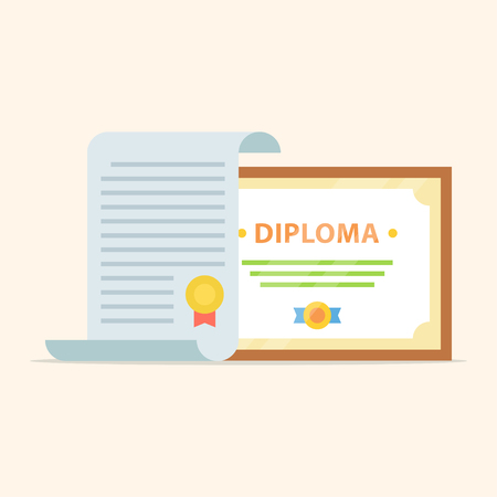 alumnus: icons of the diploma and certificate isolated from the background. Icon showing completion of studies and graduation. The awarding of scientific degree.