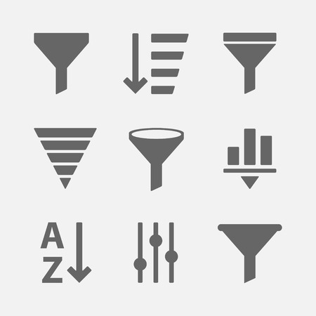 filtering: set of icons for filtering of information or data. Simple options icon filter for web sites and mobile applications. Illustration